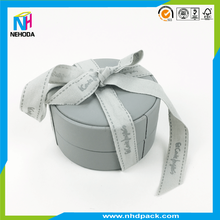 Velvet surface cylinder wedding gift box ring box with silk ribbon