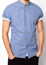 summer clothing best seller new design short sleeve denim blue custom men shirts with patterns with multi spot circles