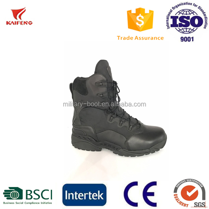 kaifeng 6 inch side zipper black police military boot