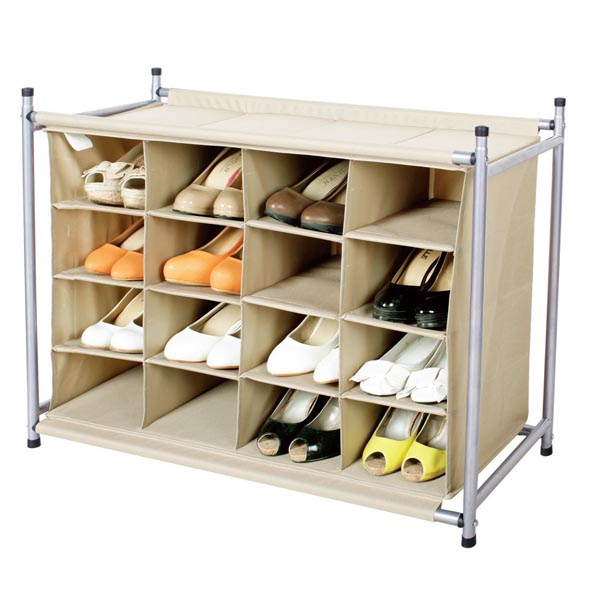Assembled 16 Compartment Cabinet Fabric Closet Shoe Rack Organizer