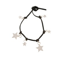 Zooying Black Leather Choker Necklace Jewellery with Star Pendant