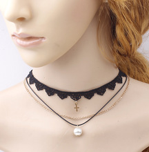 Korea Style Simple Black Rope Pearl Pendant Choker Necklaces Cross Charm Layering Collar Necklaces For Girls