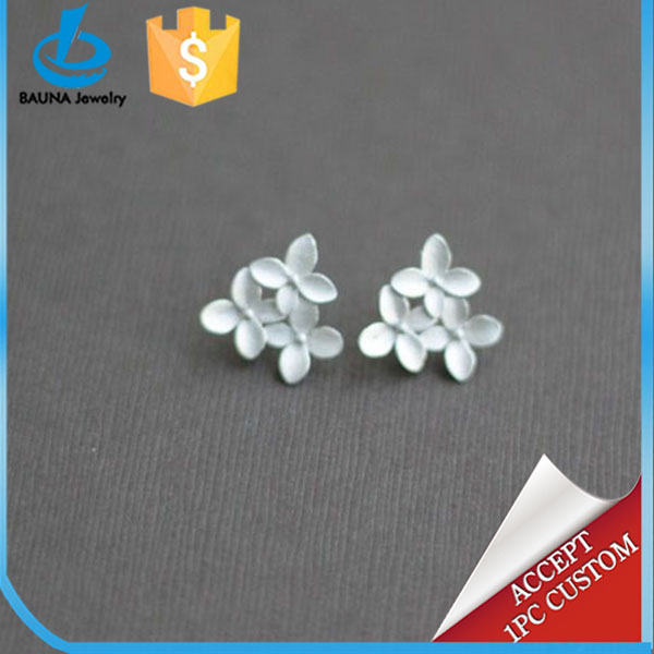 White gold plated blooming hydrangea with sterling silver cherry flower blossom earring