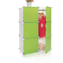 Hot Sale Plastic Portable 6 Door Wardrobe with Clothes Hanger Inside