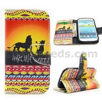 Lions Hakuna Matata Wallet Magnetic Flip Stand TPU+PU Leather Skin for Samsung Galaxy S4