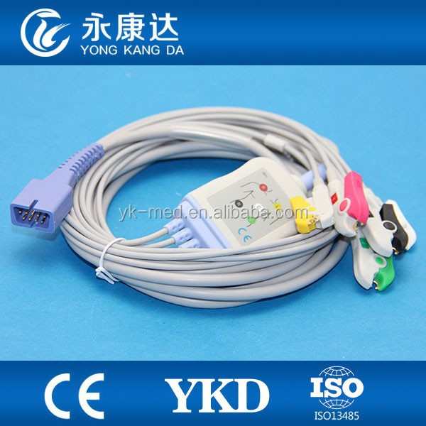 MEK for MP1000, MP600, MP500 patient ECG cable one piece 5 leads,IEC,Clip