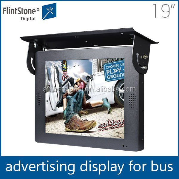 19 inch flintstone cheap flat taxi/bus LCD media advertising equipment large screen portable dvd player