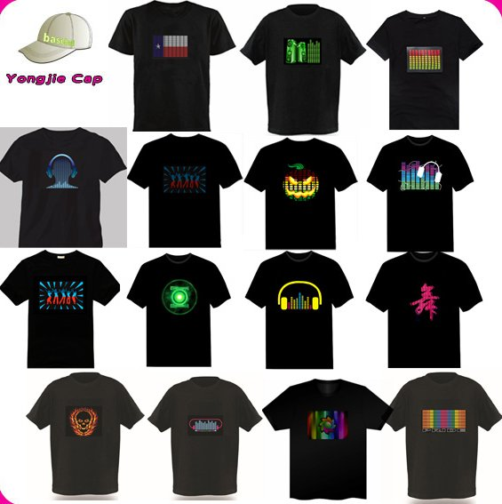 Custom Sound Controled Flashing LED T shirt Nightclub Disco Dancer Sound Activated Shirt EL Led Flashing T shirt