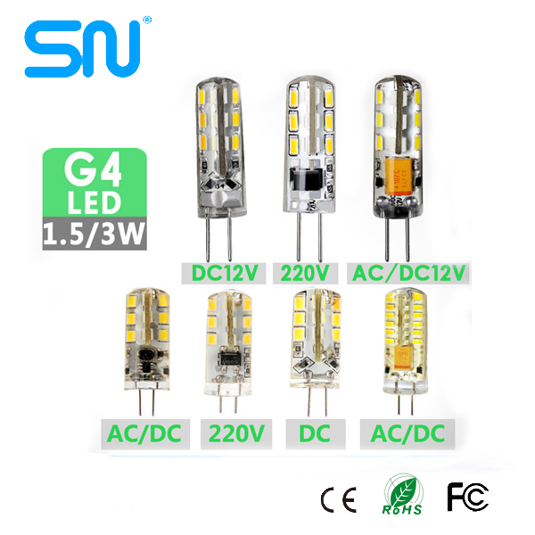 G4 LED Light Bulbs 64 SMD 3014 3W LED G4 Lamp 120V 110V 230V 220V 12V G4 LED