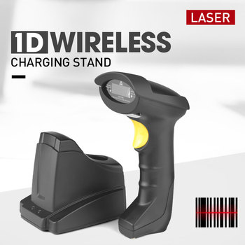 Storage function laser 1d barcode scanner wireless bar code reader with base