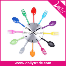 Cutlery Kitchen Wall Clock Colorful Fork Spoon Creative Clock Decorative Wall Clock