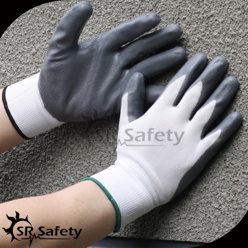 SRSAFETY 13G polyseter liner, Nitrile Palm Coated Glove, Smooth Surface