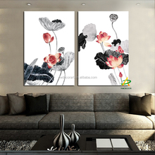 Supply For Wish Lotus Flower painting Chinese wall art painting for Living room Hotel painting 2 piece canvas prints