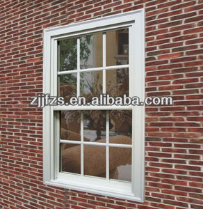 PVC single hung window, American style windows, plastic grids for windows