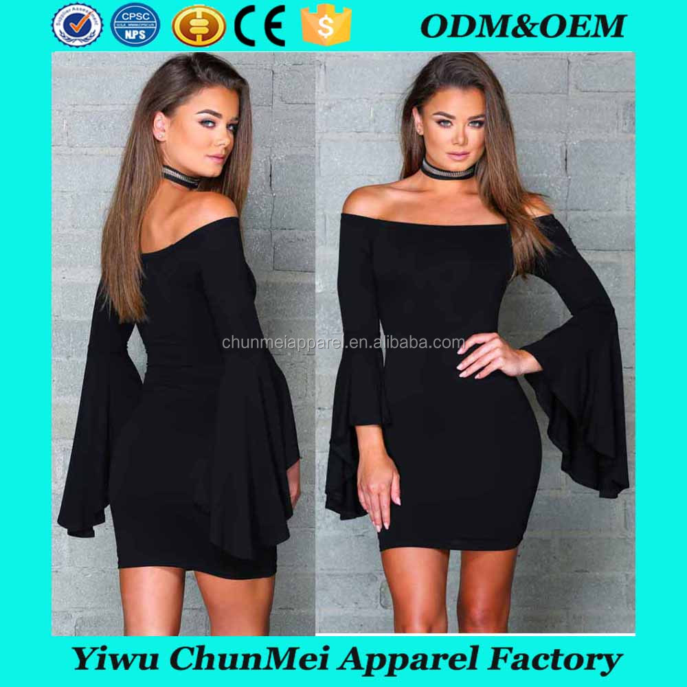 2017 Europe and America strapless trumpet sleeves dress boat neck women slim party dress