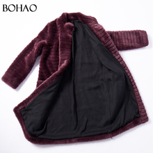 Fashion New Latest Style Ladies Winter Wine Red Artificial Fur Coat