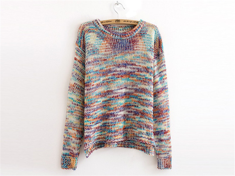 New Hot Fashion Women Pullover Winter Sweaters 2015 Rainbow Colorful Long Sleeve Lady Jumper Knitwear High Quality