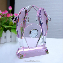 Clear crystal dolphin model crystal desk clock for office decoration