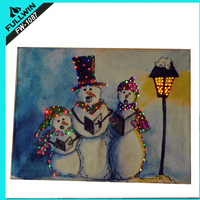 Singing Snowmen Large Flashing Tapestry Christmas Picture With Fibre Optic LED Lights 60cm wide by 40cm tall and hanging pole.