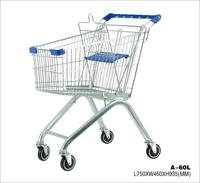europe supermarket shopping wheeled trolley cart with 60L