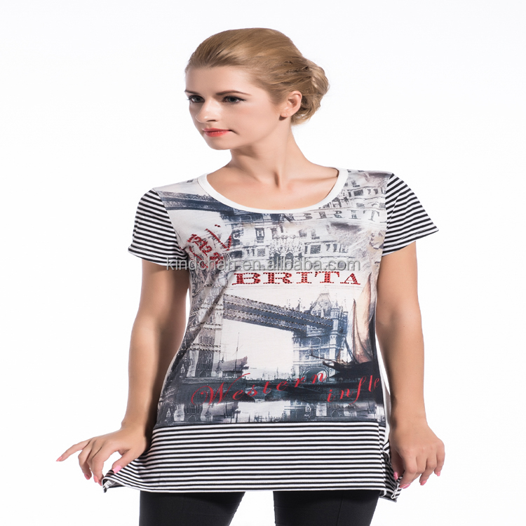 Promotional unique print short sleeve ladies tops with stripe bottom