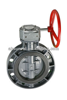Plastic butterfly valve with Worm gear