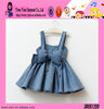 Fashion Blue Princess Dress Wholesale High Quality Cotton One Piece Short Strap Child Girl Party Dress