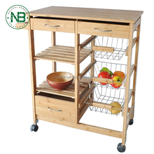 Bamboo Wood with Baskets, Drawer and 6-Slot Wine Bottle Holder