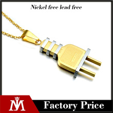2017 women's custom fashion stainless steel silver gold two tone 2 pin plug pendant