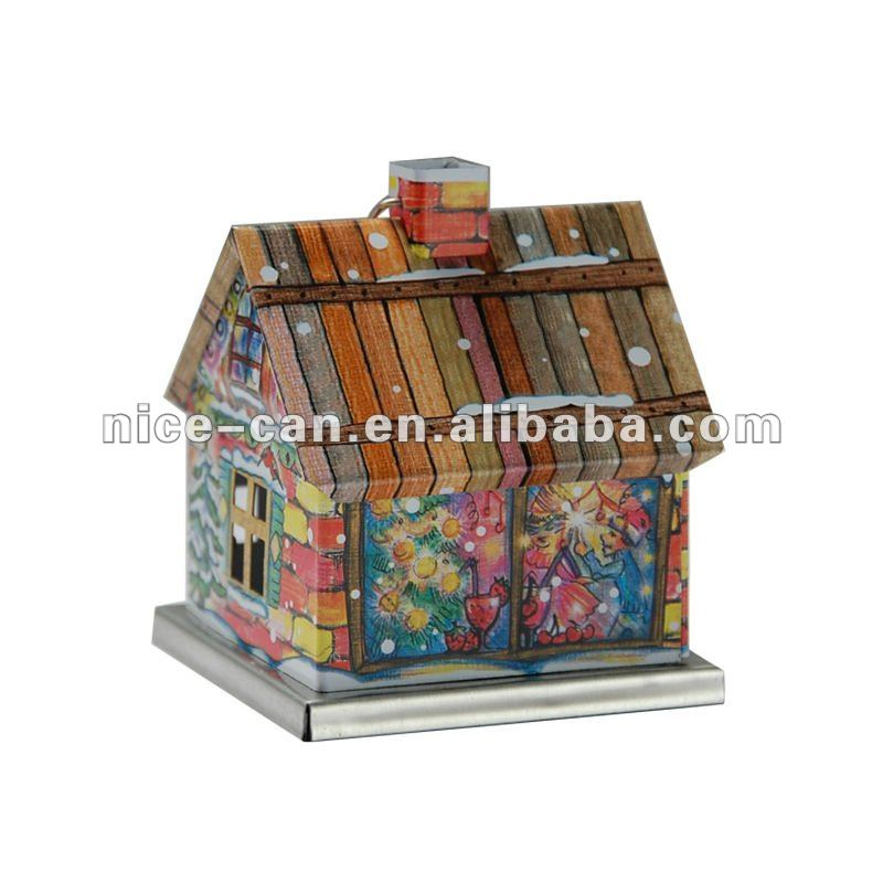 Christmas candy tin can wholesale mini house shaped tin lovely design house craft