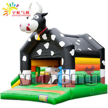 cute dairy cow inflatable jumper bouncer with slide mini bounce house