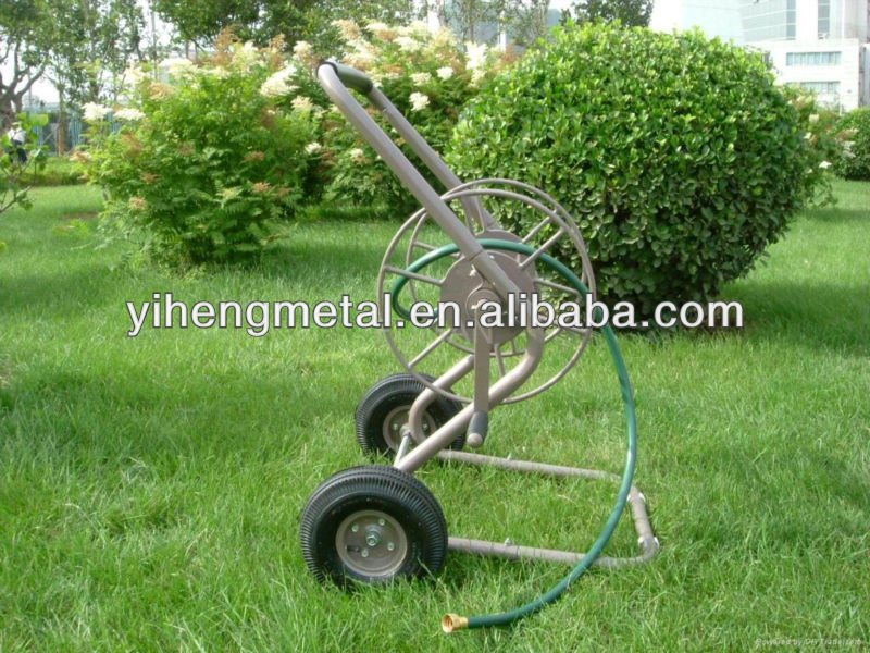 Two Wheel Metal Garden Hose Reel Swivel Irrigation Cart TC4706