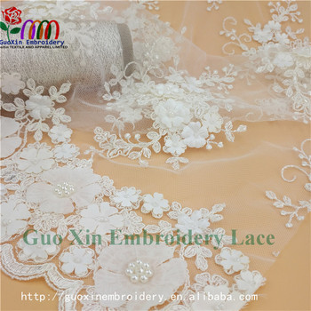 2017 factory direct selling rayon customized blue french beaded lace fabrics