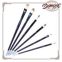 Small wholesale synthetic hair black ferrules different shaped artist brush, engraved wooden handle watercolor painting brushes