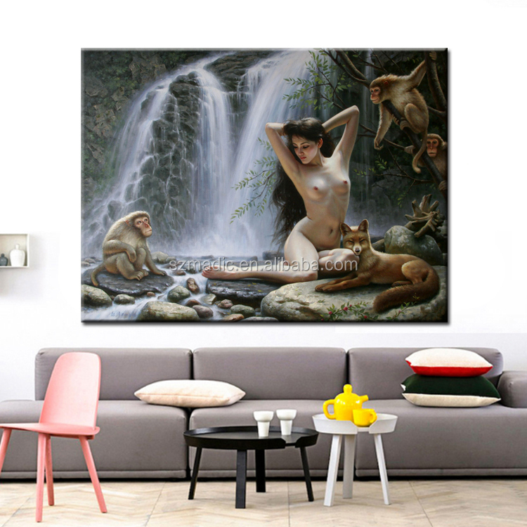 Oil Painting Wholesale Nude Girl with Monkey Fox Printed Painting HD Canvas Prints for Room Decoration
