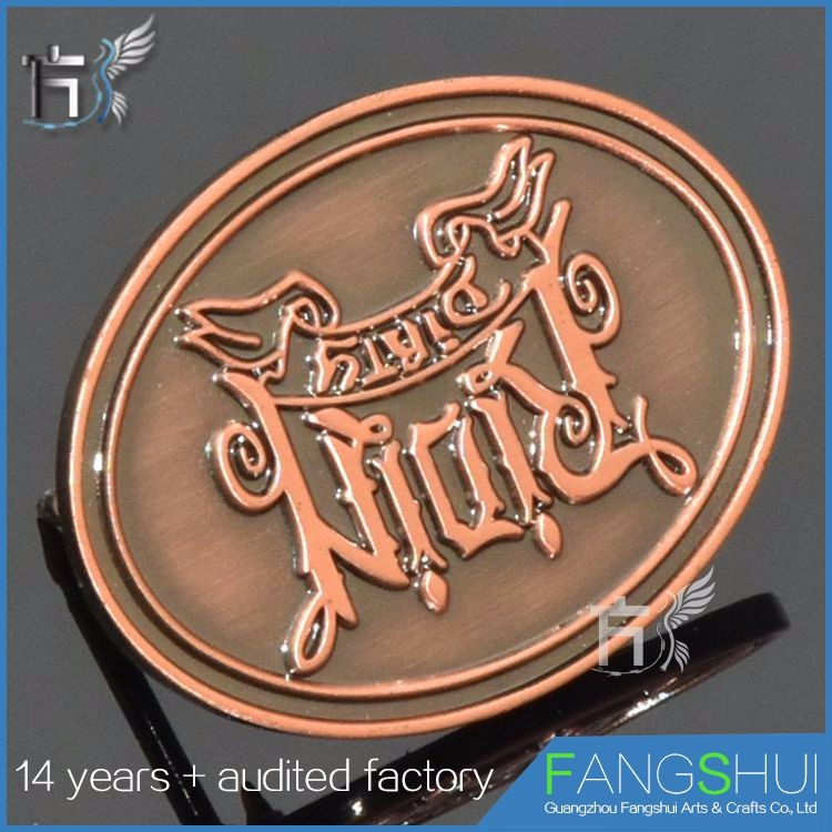 promotional antique brass round lapel pin for 2015