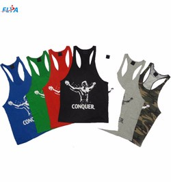 Mens Red Training Muscle Stringer workout tank top singlet