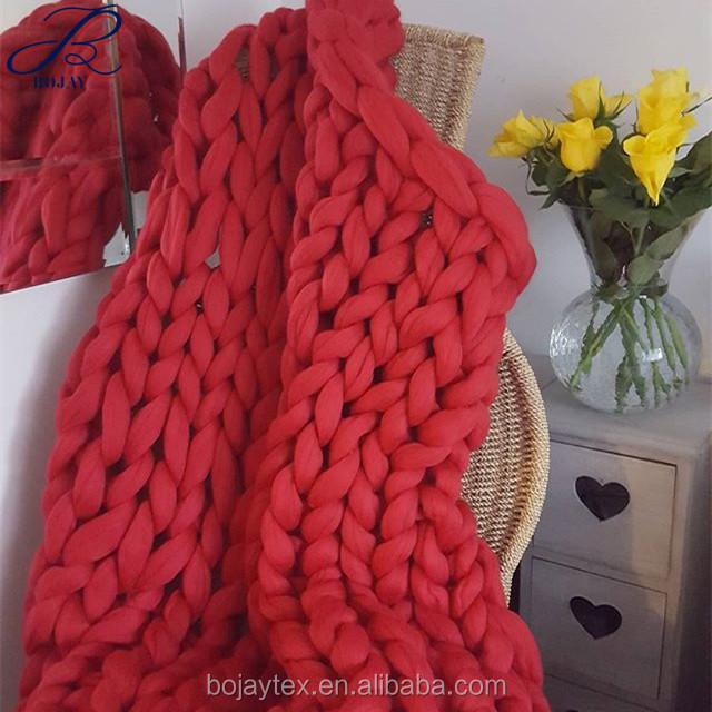 Manta tejida a mano crochet hilo voluminoso manta 100% lana merino ...