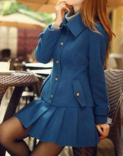 D50363J 2014 AUTUMN NEW DESIGN SPLICE PLEATED SKIRT TEMPERAMENT WOMEN'S COAT