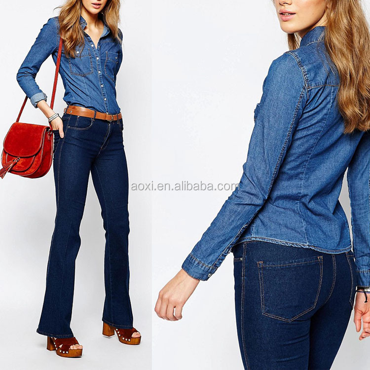 OEM service top quality stand collar long sleeve latest design ladies jeans top