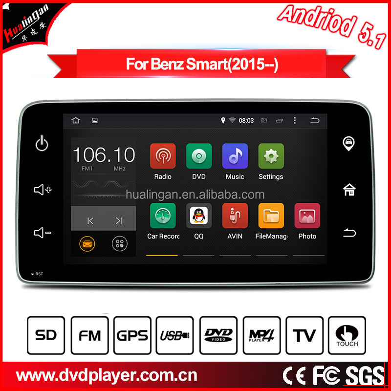 "HLA car dvd player for Android 5.1/1.6 GHZ GPS for Benz Smart 2015 Cat radio 9"" Capacitive screen 3g wifi connection"