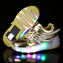 Led Kids Fashion Shoes Single Wheel Roller Skate Shoes LED Light Up Shoes With Wings