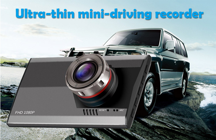 Ultra thin 3.0 inch display dual camera car dvr G-sensor car dashboard camera front and back camera