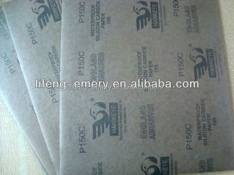 Grey latex waterproof abrasive paper silicon carbide coated black color