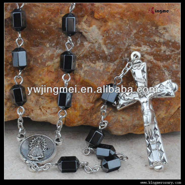 Black Hematite Bead Rosary Necklace for Catholic