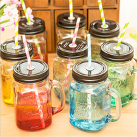 hot new products for 2015 500ml colorful mason jar with handles