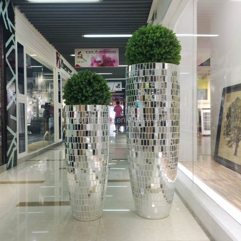 large floor standing silver mirrored mosaic decorative vase, polystone multifaceted tall vase