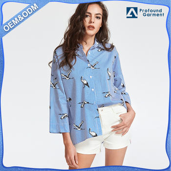2017 new design casual blue striped printed drop shoulder 3/4 Sleeve shirts