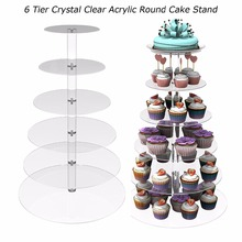 6 Tier Round Cake Stand, Acrylic Cupcake Tree Tower Dessert Display for Wedding Party Birthday