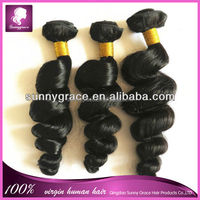brazilian loose wave virgin human hair weaves, 100% unprocessed virgin loose wave brazilian human hair extensions for women